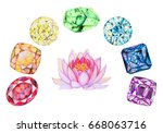 rainbow chakra stones set with... | Shutterstock . vector #668063716