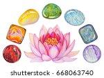 rainbow chakra stones set with...   Shutterstock . vector #668063740