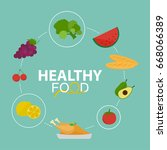healthy food background... | Shutterstock .eps vector #668066389