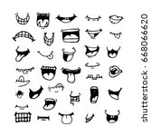 seth doodle mouths. from the... | Shutterstock . vector #668066620