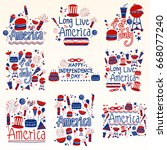 4th of july  happy independence ... | Shutterstock .eps vector #668077240