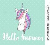 hello summer. magic cute... | Shutterstock .eps vector #668089114