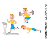 Young Man Doing Sport Exercise...