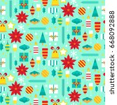 seamless pattern with christmas ...   Shutterstock .eps vector #668092888