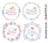 hand drawn vector floral wreath ... | Shutterstock .eps vector #668099914