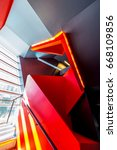 staircase painted in red.... | Shutterstock . vector #668109856