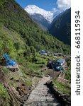 annapurna sanctuary trek in... | Shutterstock . vector #668115934