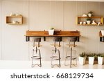 co working space with vintage... | Shutterstock . vector #668129734