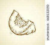 tasty raw ripe fresh sappy musk ... | Shutterstock .eps vector #668132050