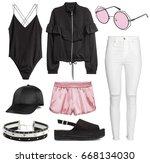 set of stylish clothes woman... | Shutterstock . vector #668134030