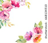 watercolor.beautiful floral card | Shutterstock . vector #668134510