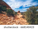 view of the desert and blue sky | Shutterstock . vector #668140423