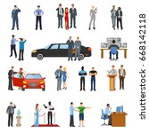 bodyguard icons set with... | Shutterstock .eps vector #668142118