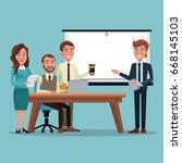 color background teamwork... | Shutterstock .eps vector #668145103