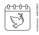 world peace day linear icon.... | Shutterstock .eps vector #668150824