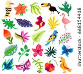 tropical exotic set of twenty... | Shutterstock .eps vector #668154418