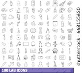 100 lab icons set in outline... | Shutterstock .eps vector #668155630