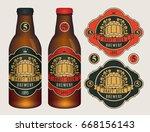 vector beer labels with barrel  ... | Shutterstock .eps vector #668156143