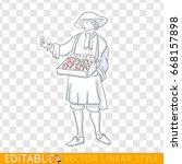 medieval salesman  merchant... | Shutterstock .eps vector #668157898