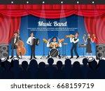cartoon colored musician... | Shutterstock .eps vector #668159719