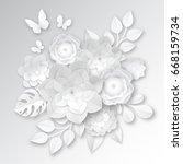 elegant white paper cut flowers ... | Shutterstock .eps vector #668159734
