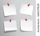 blank white paper set pinned... | Shutterstock .eps vector #668159818