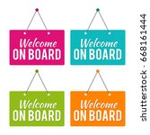 welcome on board hanging door... | Shutterstock .eps vector #668161444