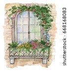 illustration of wooden old... | Shutterstock . vector #668168083