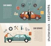 flat horizontal auto banners... | Shutterstock .eps vector #668169496