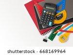 school supplies used in math... | Shutterstock . vector #668169964