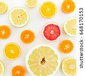 citrus fruits on white... | Shutterstock . vector #668170153