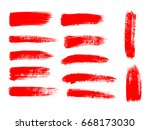 painted grunge stripes set. red ... | Shutterstock .eps vector #668173030