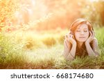 asian women in summer with... | Shutterstock . vector #668174680