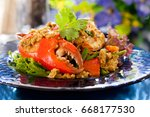 fried crab in yellow curry | Shutterstock . vector #668177530