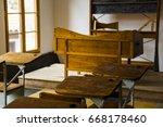 old school empty classroom | Shutterstock . vector #668178460
