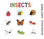 funny insects  cute cartoon... | Shutterstock .eps vector #668178604