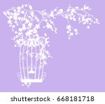 bird cage among blooming tree... | Shutterstock .eps vector #668181718