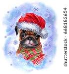 Christmas Pug. A Dog In A Sant...