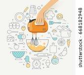 cooking class concept...   Shutterstock .eps vector #668182948
