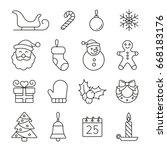 christmas and new year icons ... | Shutterstock .eps vector #668183176