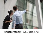 two business colleagues in...   Shutterstock . vector #668186473