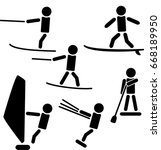 symbols of water sports being... | Shutterstock .eps vector #668189950