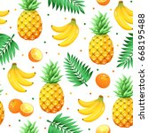 tropical  fruits isolated on... | Shutterstock .eps vector #668195488