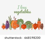 lovely vegetables vector set... | Shutterstock .eps vector #668198200