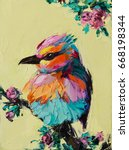 a colorful fantasy bird is...   Shutterstock . vector #668198344