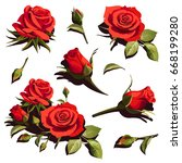 illustration with red roses on... | Shutterstock .eps vector #668199280