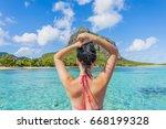 tourist at le morne brabant  ... | Shutterstock . vector #668199328