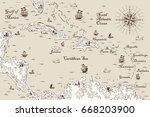 old map of the caribbean sea ... | Shutterstock .eps vector #668203900