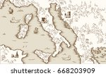old map of italy  medieval... | Shutterstock .eps vector #668203909