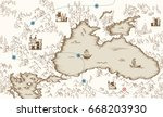 medieval cartography  old... | Shutterstock .eps vector #668203930